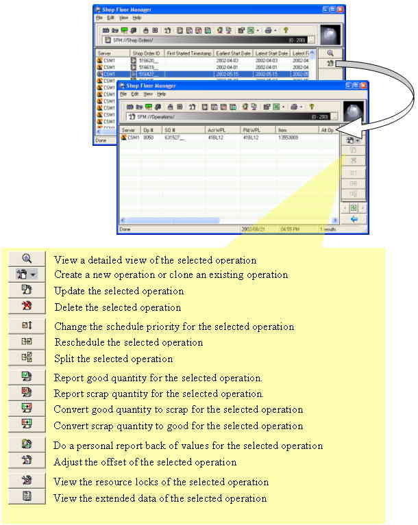 "Example: Shop-order to operation list ""drill down"" functionality"